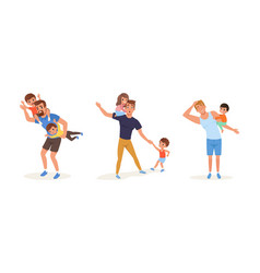 tired fathers and their children set stressed vector image