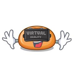 virtual reality hamburger bun mascot cartoon vector image