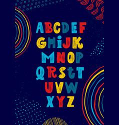 Whimsical craft workshop font on creative artistic vector