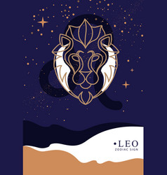 Witchcraft card with astrology leo zodiac sign vector