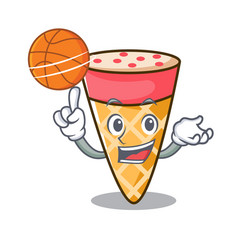 With basketball ice cream tone character cartoon vector