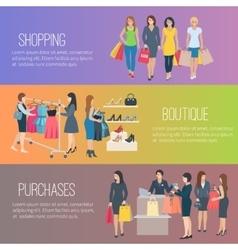 Woman Shopping Flat Banner vector image