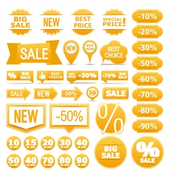 Yellow sale banners ribbons labels vector