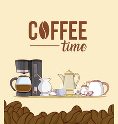 coffee time frame with beans vector image