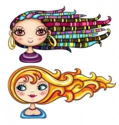 girls hair styles vector image