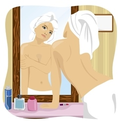 Woman looking at herself in mirror in bathroom vector image