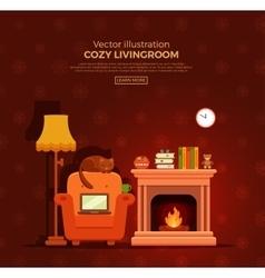 Christmas fireplace room interior vector image