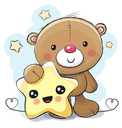 cute cartoon teddy bear with star vector image