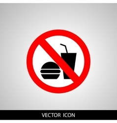 no food or drink allowed symbol prohibiting sign vector image