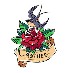 tattoo red rose with ribbon bird and word mother vector image vector image