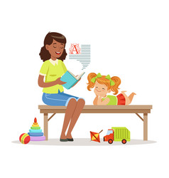 teacher reading a book to little girl while vector image