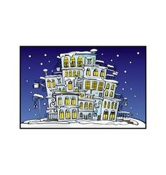 Cartoon night city coated by snow vector