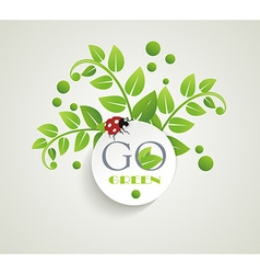 Clean white label with green leaves for organic vector image