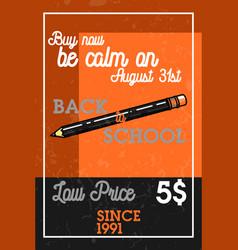 Color vintage back to school sale banner vector
