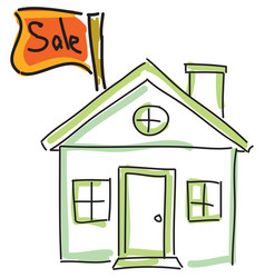 drawn green house for sale vector image vector image