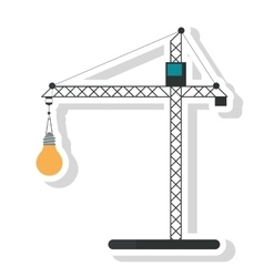 Isolated crane holding light bulb design vector image vector image