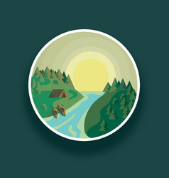 landscape round river and vector image vector image