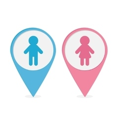 Map pointer Man Woman icon Pink and blue round vector image