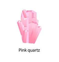 pink quartz mineral composed of silicon and oxygen vector image vector image