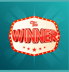 the winner banner retro light frame with glowing vector image vector image
