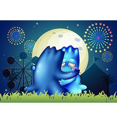 Two monsters comforting each other at the carnival vector image vector image