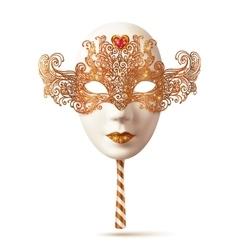White Venetian carnival mask with golden glitter vector image