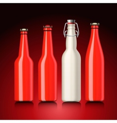 Beer bottle set with no label vector image vector image