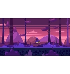 Cartoon nature seamless landscape with night vector image