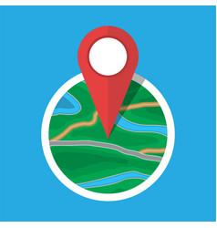 City suburban circle map with marker vector