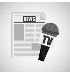 news paper microphone tv icon vector image