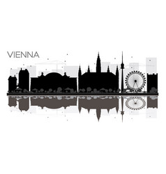vienna city skyline black and white silhouette vector image