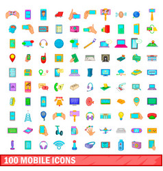 100 mobile icons set cartoon style vector