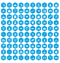 100 online shopping icons set blue vector