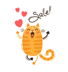 a joyful cat reports a sale vector image