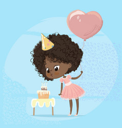 African american girl blowing birthday cake candle vector