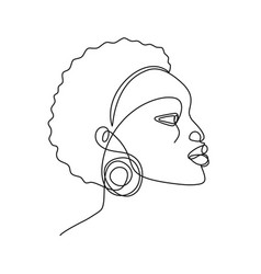 african woman continuous line portrait abstract vector image