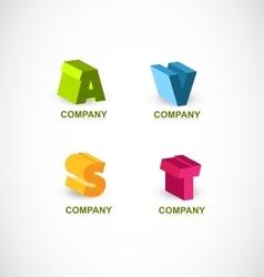 Alphabet colors letter set 3d logo vector image