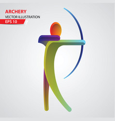 archery color sport icon vector image