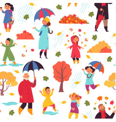 Autumn people walking pattern adult standing vector