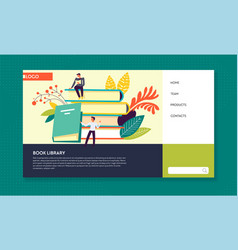 book library online literature web page template vector image
