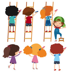 Boys and girls on ladder writing vector