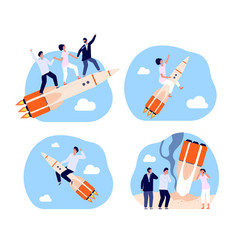 Business startup bankruptcy characters rocket vector