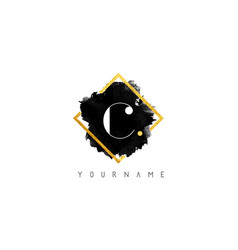 c letter logo design with black stroke and golden vector image