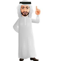 cartoon arab businessman pointing up vector image