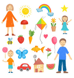 children drawings colored crayon picture kids vector image