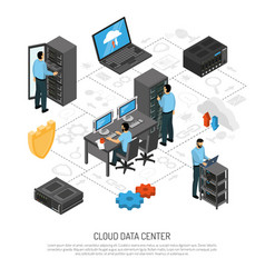 Cloud data center isometric flowchart vector