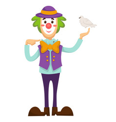Clown circus trick with dove bird in hand vector