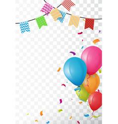 Colorful birthday balloon and confetti vector