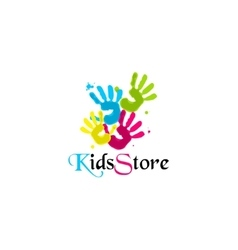 Colorful Hands print Four colors KindsStore vector image