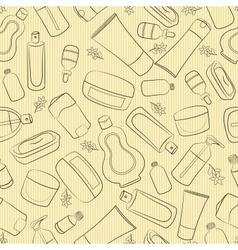 Cosmetics doodle seamless vector